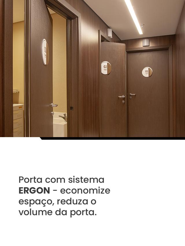 Porta com sistema Ergon - Economize espaço, reduza o volume da porta